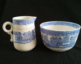 Vintage Blue Willow Pitcher and Bowl