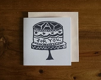 yay for you - notecard - hand printed - blank inside - greeting card
