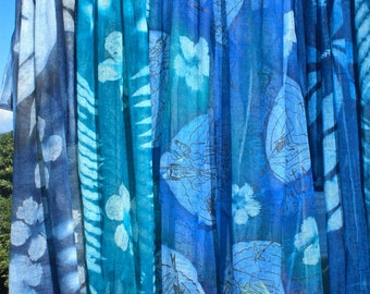 Hand Printed Nature Embossed Cotton Gauze Scarf Shawl | Made in Seychelles |  Turquoise