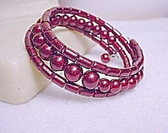 Handcrafted Glass Wrap Bracelet - Cranberry Beads - Pristine