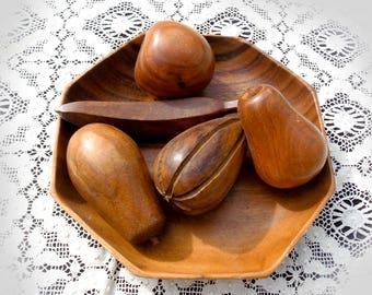 Monkey pod wood fruit  bowl - Wood Carved Fruit and Wooden Bowl Set - wooden Fruit set - kitsch table decor - cottage kitchen decor  # 143