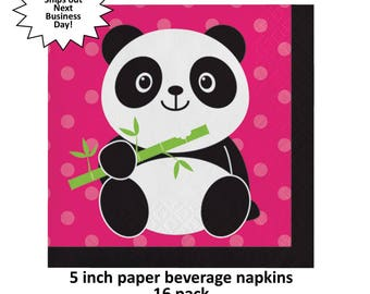 panda party beverage napkins, pandamonium, cute panda bear, girls birthday ideas, hot pink and black, bamboo, baby shower decor, animals