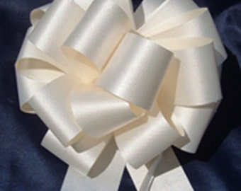 """10 Pull String Bows - Gift Wrap Packaging - 5"""" 20 Loops - 1 1/4"""" - Ivory"""