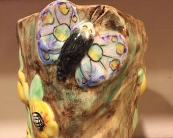 E Radford butterfly vase