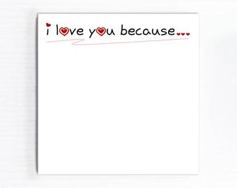 Liebe Erinnerung, ich liebe dich, weil Notizblock, handgeschöpftes Papier, Valentines Unterlage, Gründen, Liebe Platz Memo Pad, Jahrestag, täglich Listen