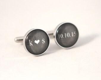 dark gray Wedding Cuff links Personalized Groom gift, Personalized Cuff links,wedding keepsake Gift for Groom