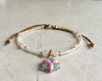 Beaded bracelet with charm, Beaded friendship bracelet, Charm bracelet, Minimalist bracelet