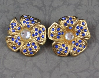 Pair of Embossed Blue and Clear Rhinestone Golden Flower Round Buttons