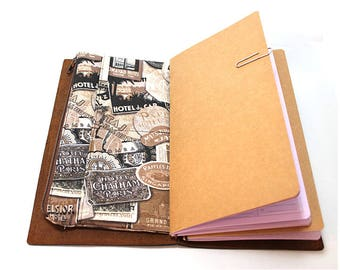Zippered Insert for Midori Travelers Notebook, Standard Size, Personal Size, Passport Size, Micro Size - Travel Labels in Brown