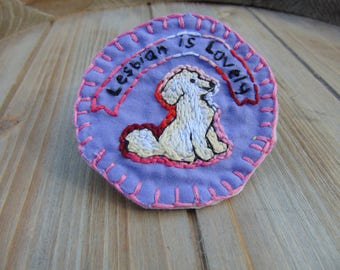 Lesbian is Lovely! Pride Puppy Embroidered Patch