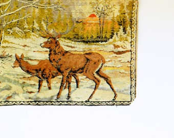 Rustic Vintage Deer Landscape Tapestry / Woodland Deer Family / Vintage Forest Scene Wall Hanging / Vintage Deer Rug