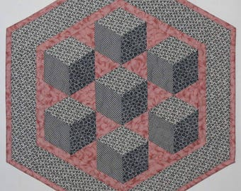 Quilted Table Topper, 3D Floating Blocks, Grey Gray and Pink