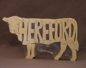 Hereford Cow or Bull Cattle Puzzle Wooden Toy Hand Cut