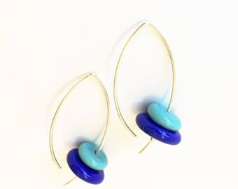Blue glass earrings. Lampwork dangle earrings. Loop glass earrings. Silver and glass earrings. Lampwork jewelry.