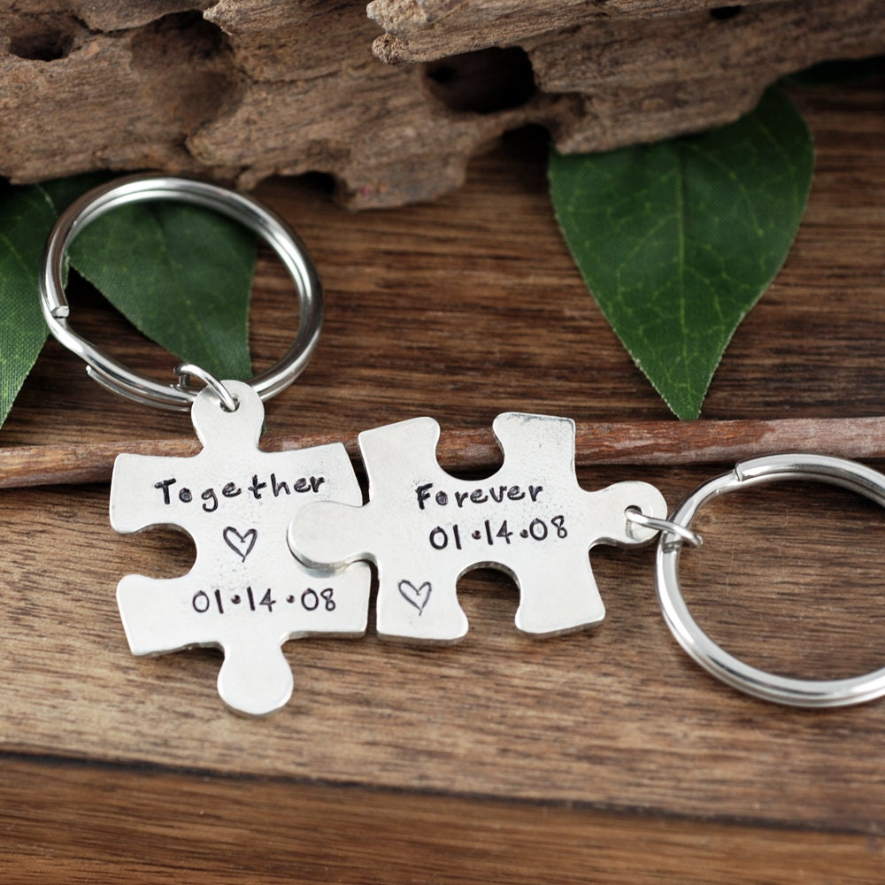 together forever keychain set of two couples keychains