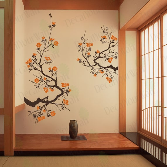 cherry blossom wall decal large tree branch japanese wall art. Black Bedroom Furniture Sets. Home Design Ideas