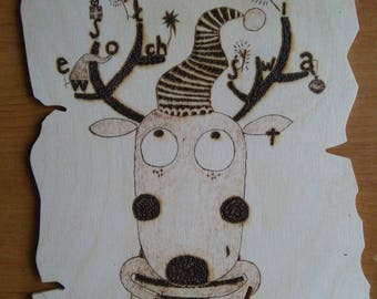 Hand-burned Reindeer, Christmas Card, pyrography, woodburning on plank