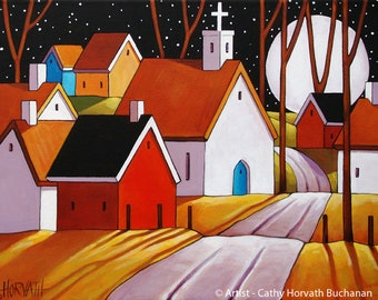 Village Full Moon Shadows Fine Art Print, Fall Night Church Town Road Landscape, 8x11 Folk Autumn Evening Roadway Artwork by Cathy Horvath