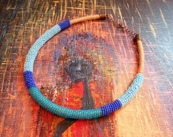 Necklace - ethnic necklace - Maasai tribal necklace - Choker - seed beads - blue shades