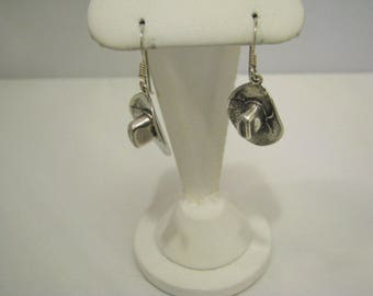 c660 Cute and Fun Cowboy Hat Dangle French Hook Earrings in Sterling Silver