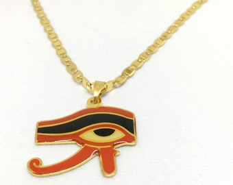 Eye of Horus necklace, gold tone necklace, Red and Black Horus eye. Egyptian Jewelry. Eye of Horus Jewelry
