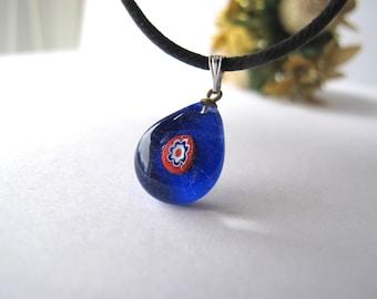 Cobalt Blue Teardrop Millefiori Glass Pendant Necklace