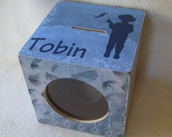 Piggy Bank - Fish Piggy Bank - Fishing Bank - Wooden Coin Bank - Kids Bank - Personalized - Gift