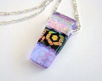 Hot Color Necklace, Pink Blue Fused Dichroic Glass Pendant, Colorful Dichroic Glass Silver Chain Necklace, Made in Hawaii Glass Necklace