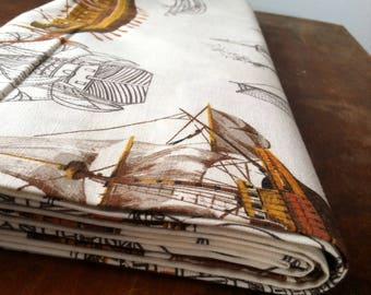 Vintage Mid Century Kandell Nautical Cotton Fabric, 5 Yards