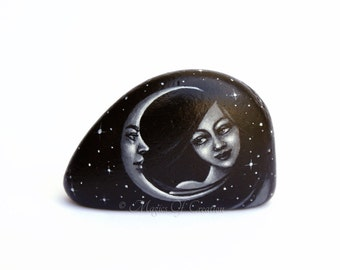 Moon lover paperweight and table decor. Girl and crescent moon, original painting on stone. Unique desk decor and paper weight.