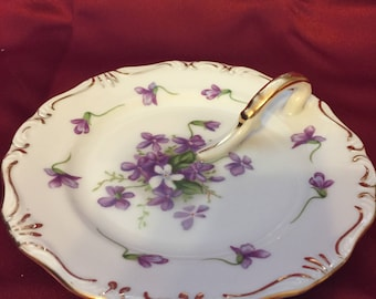 Vintage Spring Violets Hand Painted Lemon Dish Made in Occupied Japan