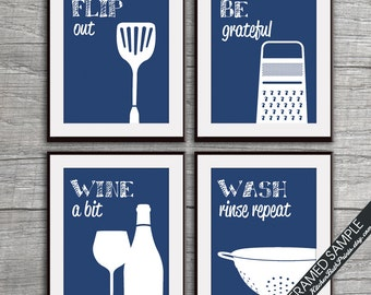 Funny Kitchen Art Print Set (Spatula, Cheese Grater, WIne Glass and Colander) Set of 4-  Art Prints (Featured on Monaco)