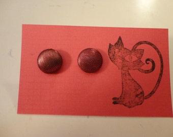 Red & Black Mesh Button Earrings