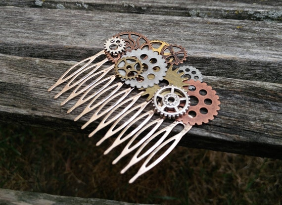 Steampunk Hair Comb, With Gears. Bridal, Bridesmaid Gift.  Shabby Chic Hair Piece. Flower Girl. Anniversary, Birthday.