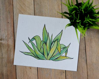 Agave Art Print - Art Print on Handmade Paper - Cactus Lover - Cactus Wall Art - Mexican Cactus Art - Maguey
