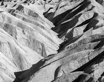 Zabriskie Point, Death Valley, Black and White Photographic Print