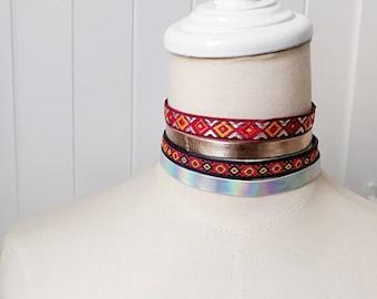 faux leather ribbon choker / boho textile choker / silver diamond shinny gold red choker necklace - hippie gypsy fabric necklace