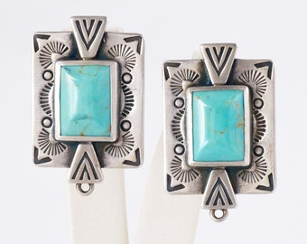 Turquoise Earrings - Vintage Sterling Silver Signed Turquoise Earrings