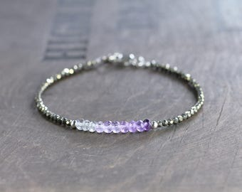 Amethyst, Labradorite & Pyrite Beaded Bracelet in Sterling Silver or Gold Filled, Delicate Grey Purple Gemstone Bracelet, Pyrite Jewelry