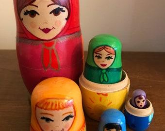 Rainbow Matryoshka Doll Set