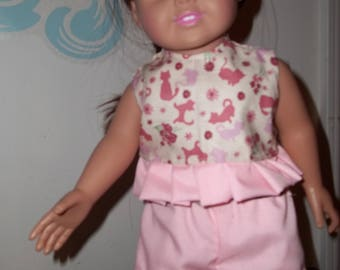 "18"" doll Pink Cat Shorts set 321E"