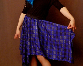 Blue Plaid Flapper 1920s Skirt