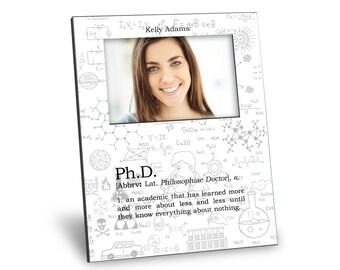 Graduation Picture Frame - Ph.D. Definition Picture Frame - Personalization Available - 8x10 Frame - 4x6 Picture