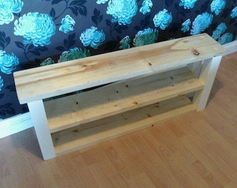 Farm House Style 2 Shelf Bench