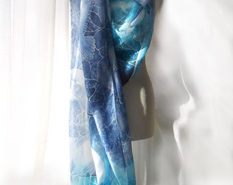 Giant scarf - Big scarf - silk pareo hand painted - Winter Heron scarf - hand painted silk scaves - beach scarf - huge scarf - sarong