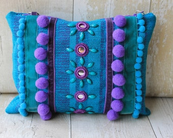 Turquoise and Purple  floral ethnic embellished clutch bag with silver chain strap
