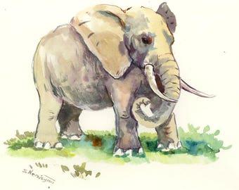 African Elephant art, sahara, Africa, kids wall art, Original watercolor painting,  watercolor animal art, elephant lover, elephant art
