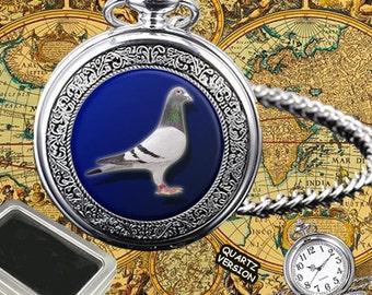 Pigeon Racing, Dove, Taube,Paloma Bird Quartz Pocket Watch Gift, Engraving