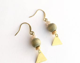 Earrings natural raw brass vintage wood bead Rusted Pearl