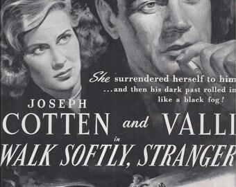 1950 Magazine Ad for Film Walk Softly, Stranger Starring Joseph Cotten & Alida Valli. Nesbitt's Ad on Back, Vintage Advertising, Ephemera